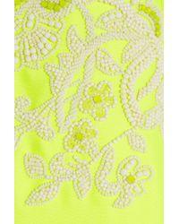 Valentino Green Embellished Neon Duchesse Satin Gown