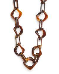 Mango - Black Tortoiseshell Effect Link Necklace - Lyst