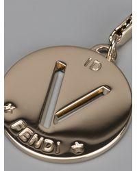 Fendi | Metallic V Identity Charm | Lyst