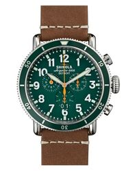 Shinola - Green 'the Runwell' Chronograph Leather Strap Watch for Men - Lyst