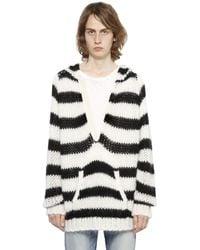 Saint Laurent | Black Hooded Striped Wool & Mohair Sweater for Men | Lyst
