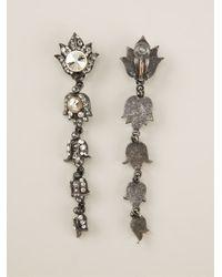 Lanvin Metallic Crystal Earrings