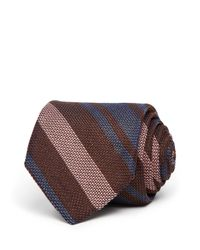 Eidos Brown Striped Classic Tie for men
