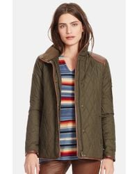 Lauren by Ralph Lauren - Green Faux Leather Trim Quilted Jacket - Lyst