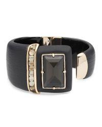 Alexis Bittar Black Color Block Cabochon Brake Hinge Bracelet