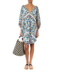Easton Pearson Take Away Blue Diamond Cotton Tunic Dress
