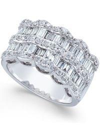 Macy's - Multicolor Multi-row Diamond Ring In 14k White Gold (1-9/10 Ct. T.w.) - Lyst