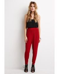 Forever 21 Brown Crinkled Crepe Joggers