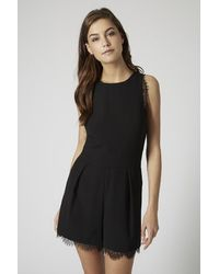TOPSHOP Black Tall Lace Playsuit