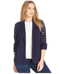 INC International Concepts | Blue Plus Size Floral-lace Jacket | Lyst
