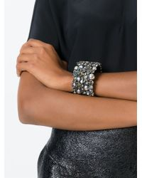 Alberta Ferretti Metallic Crystal Cuff Bracelet