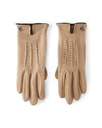 Ralph Lauren Brown Vented Wool-blend Touch Gloves