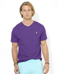 Polo Ralph Lauren | Purple Medium-Fit Short-Sleeved Cotton Jersey V-Neck for Men | Lyst