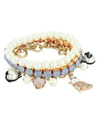Betsey Johnson | Multicolor Pearl Critters Charm Bracelet Set | Lyst