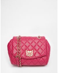 Love Moschino Pink Quilted Shoulder Bag With Chain Straps