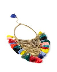 Forever 21 Multicolor Stacked Chain Tassel Statement Necklace