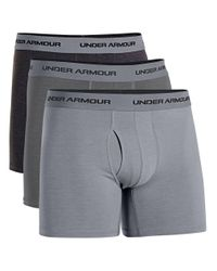 Under Armour | Gray Three-pack Cotton Stretch Boxerjocks for Men | Lyst
