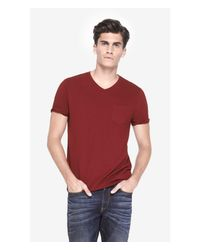 Express Red V-neck Pocket Tee for men