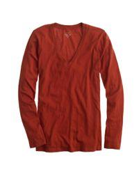 J.Crew - Orange Tissue Long-sleeve V-neck T-shirt - Lyst