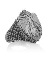 Harlot & Bones | Gray Shield Poison Rhodium-Plated Marcasite Ring | Lyst