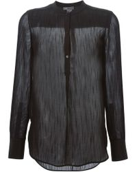 Vince - Black Band Collar Blouse - Lyst