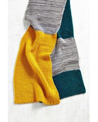 Urban Outfitters - Green Colorblock Seed Stitch Scarf - Lyst