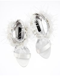 Ann Taylor White Katrina Floral Ankle Strap Sandals