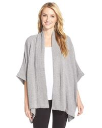 Natori | Gray 'holly' Chenille Open Front Cardigan | Lyst