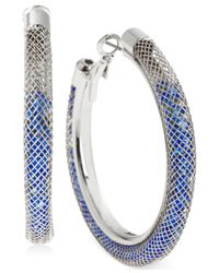 Betsey Johnson | Metallic Silver-tone Mesh-wrapped Blue Crystal Hoop Earrings | Lyst