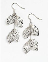 Lord & Taylor Metallic Sterling Silver Handmade Diamond-cut Leaves Earrings