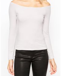 ASOS | Gray The Off Shoulder Top With Long Sleeves | Lyst