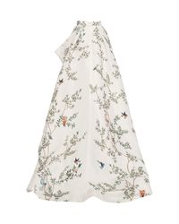 Monique Lhuillier White Silk Gazar Ball Skirt