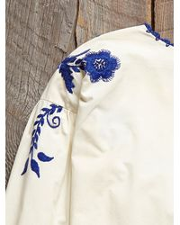 Free People - Blue Vintage Hand Embroidered Shirt - Lyst