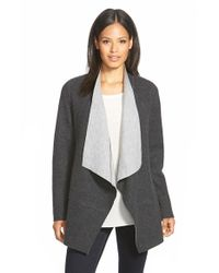 Eileen Fisher | Gray Long Open Front Merino Blend Jacket | Lyst