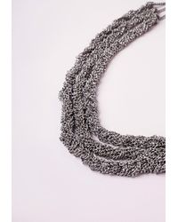Missguided - Metallic Multi Layered Necklace Silver - Lyst