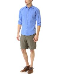 Hartford Blue Slim Fit Cotton Voile Shirt for men