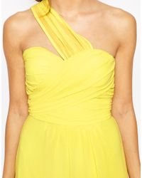 Elise Ryan | Yellow One Shoulder Waisted Maxi Dress | Lyst
