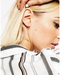ASOS - Metallic Sterling Silver 12mm Bar Hoop Earrings - Lyst