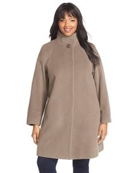 Cinzia Rocca | Brown Wool Blend Stand Collar A-line Coat | Lyst