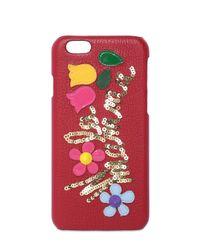 Dolce & Gabbana Red W La Mamma Embellished Iphone 6 Case