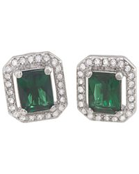 Carolee Green Cushion Crystal Stud Earrings