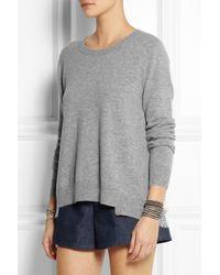 CLU Gray Cotton And Lace-Paneled Wool-Blend Sweater