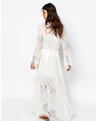 White Sand - Excalibur All Over Chiffon And Lace Maxi Dress With Tie Front - White - Lyst