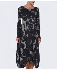 Rundholz Gray Ink Print Long Sleeve Dress