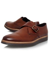 KG by Kurt Geiger Brown Forman Leather Monk Shoes for men