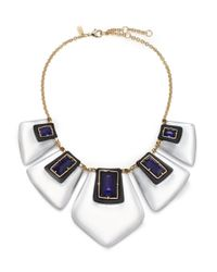 Alexis Bittar | White Sport Deco Lucite & Crystal Articulated Bib Necklace | Lyst
