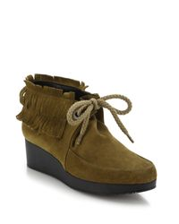 Robert Clergerie | Brown Naim Fringed Suede Booties | Lyst