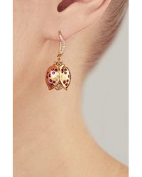 Aurelie Bidermann - Metallic Diamond And Ruby Ladybug Earrings - Lyst