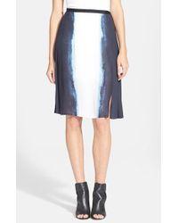 Vince - Gray Vertical Dip Dye Pleated Skirt - Lyst