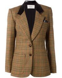 Rodarte - Brown Contrast Collar Check Blazer - Lyst